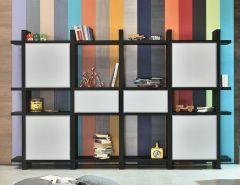 Bibliothèque en Bois Puzzle - 234 à 366 cm - Tagged