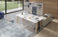 Table de Bureau avec pieds revêtus COUNTRY - 100 à 240 cm - Design Perin & Fernandes - Bralco