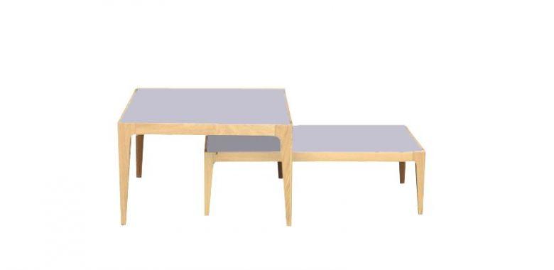 Lot de 2 Tables Basses Design Ligne en Bois de Chêne Massif - Plateau Verre Gris-Bleu
