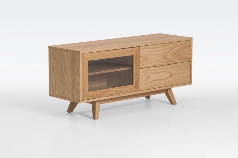Banc TV en Bois Design Retro - Chêne - 120 cm