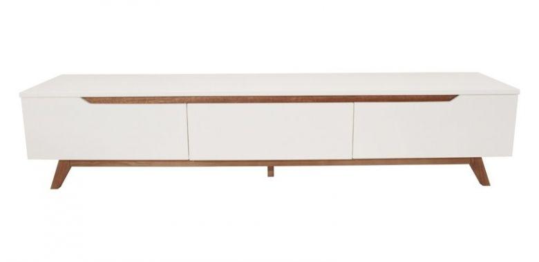 Banc TV Design Ida 180 cm - Blanc et Bois d'Hévéa - 3 Tiroirs