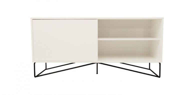 Buffet Design Cross Blanc et Pied Métal Noir - 160 cm