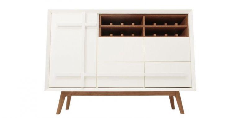 Buffet Design Daven - Blanc et Bois d'Orme - 125 cm