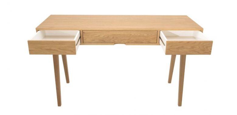 Bureau en Bois Design Retro - Chêne - 3 Tiroirs - 140 cm