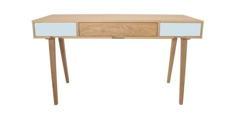 Bureau en Bois Design Retro - Chêne - 3 Tiroirs Bleu Pastel et Chêne - 140 cm