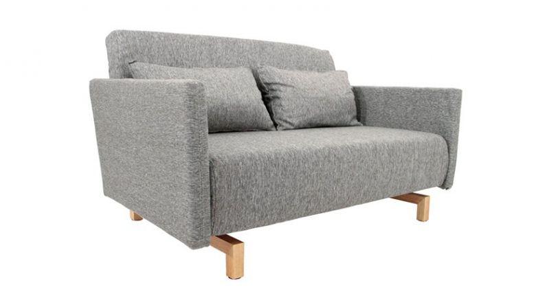 Canapé Convertible Design Stockholm Gris 135 cm - Piètement Bois