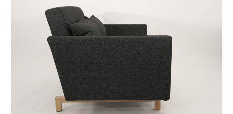 Canapé Convertible Design Stockholm Noir / Gris anthracite 135 cm - Piétement Bois