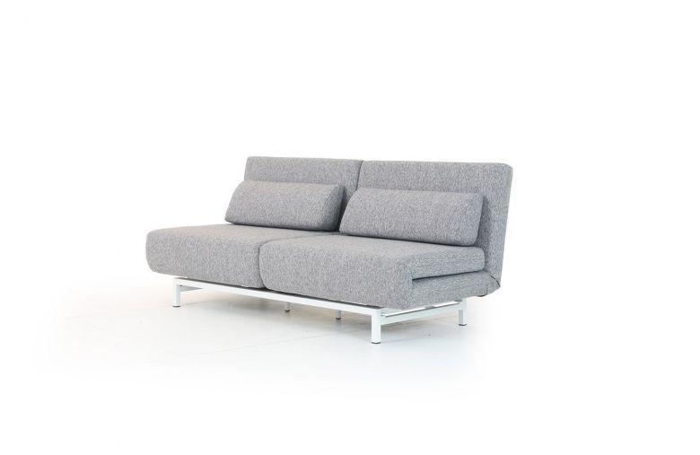 Canapé Convertible Design Loveseat Gris - Piétement blanc