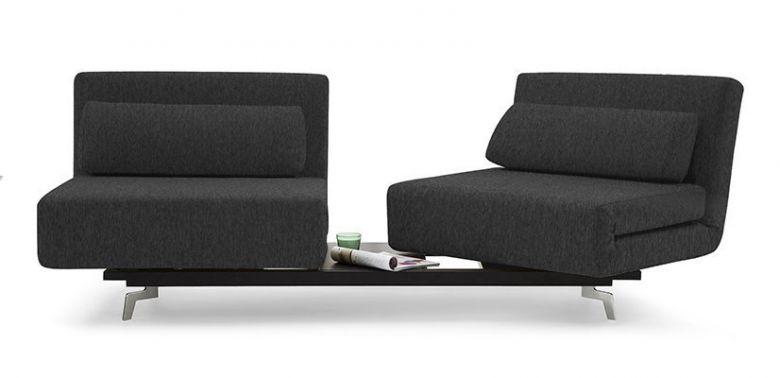 Canapé Convertible Design Loveseat Plus - Noir / Anthracite - 184 CM