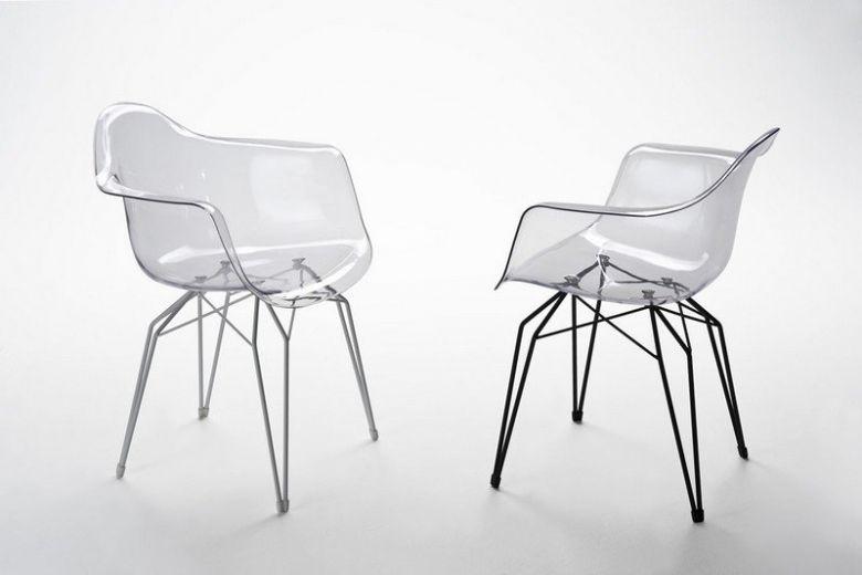 Chaise Design Vesta avec Accoudoirs en Polycarbonate