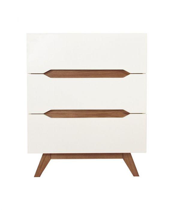 Commode Design Ida en Bois Blanc et Bois d'Hevea - 3 tiroirs