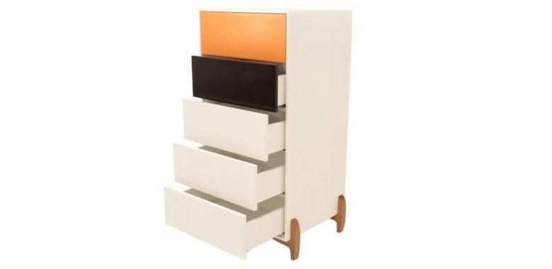 Commode Design Karri 5 Tiroirs - Blanc Orange et Noir