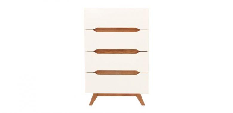 Commode Design Ida en Bois Blanc et Bois d'Hévéa - 4 tiroirs