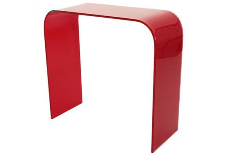 Console Bureau Carlita en Verre Rouge