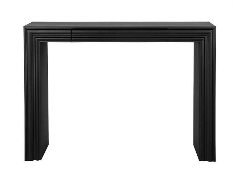 Console Coiffeuse Design Roman en Bois Noir Mat