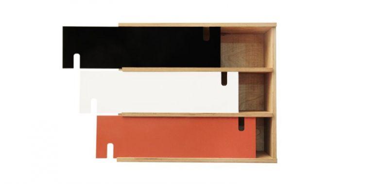 Etagère en Bois Triple Design Fjord - Chêne - Orange Noir et Blanc - Radis