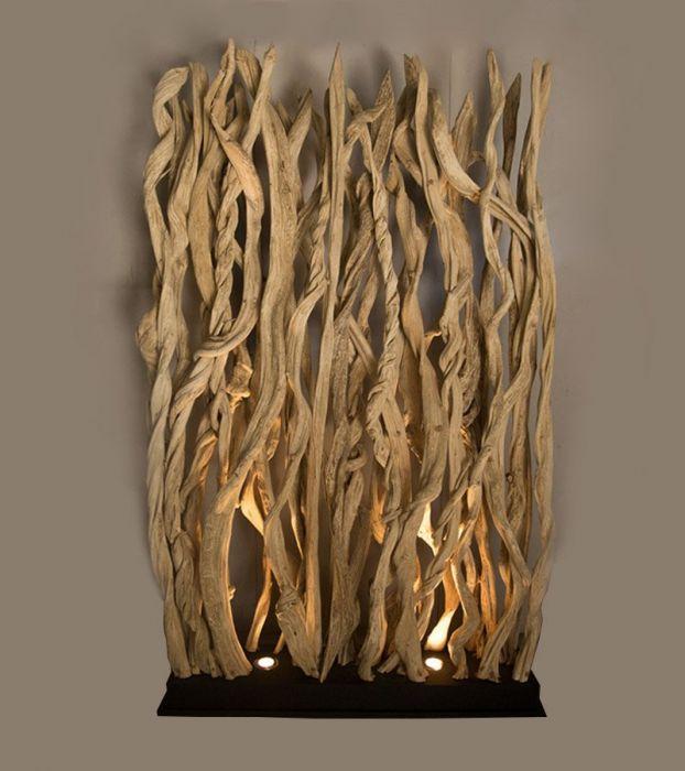 Liane Lampe XXL Décorative Design en Bois Flotté 1C