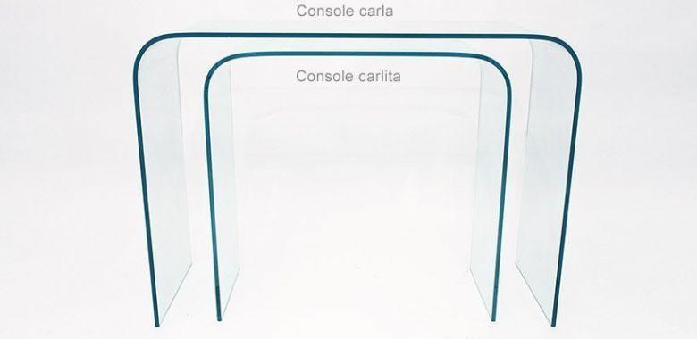 Lot de 2 Consoles en verre Design Carla et Carlita