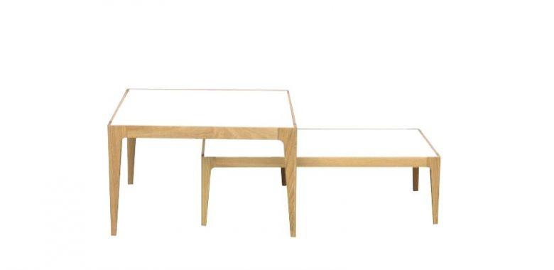 Lot de 2 Tables Basses Design Ligne en Bois de Chêne Massif - Plateau Verre Blanc