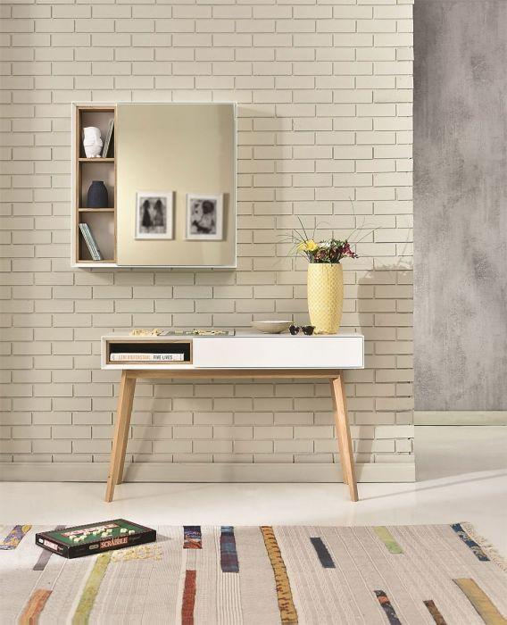 Miroir Host avec étagère en bois - Design Tagged