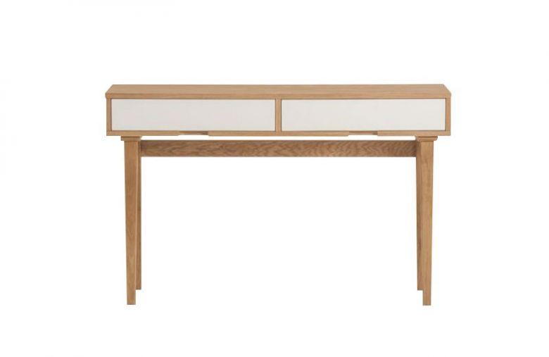 Table Console en Bois Design Retro - Chêne - 2 Tiroirs Blanc - 120 cm