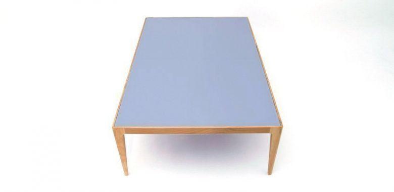 Table Basse Design Ligne en Bois de Chêne Massif - Plateau Verre Gris-Bleu