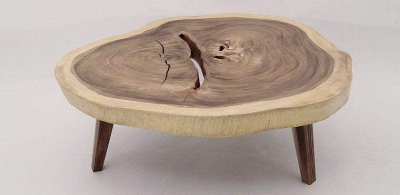 Table Basse Design Tronc en Bois d'Acacia n°3 - 100cm