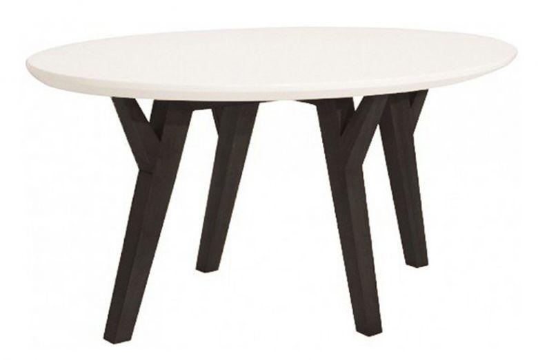 Table Basse Design Oval Loa - Plateau Blanc et Pied Massif en Hévéa