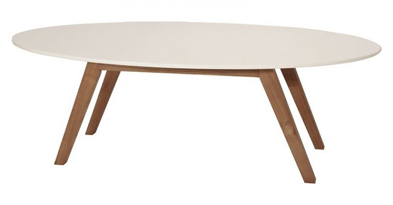 Table Basse Ovale Design Ida Blanc et Bois d'Hévéa
