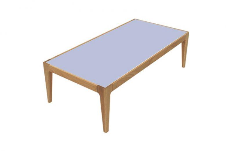Table Basse Rectangulaire Design Ligne en Bois de Chêne Massif - Plateau Verre Bleu