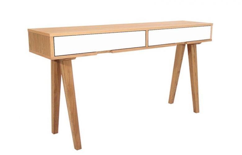 Table Console en Bois Design Retro - Chêne - 2 Tiroirs Blanc - 140 cm