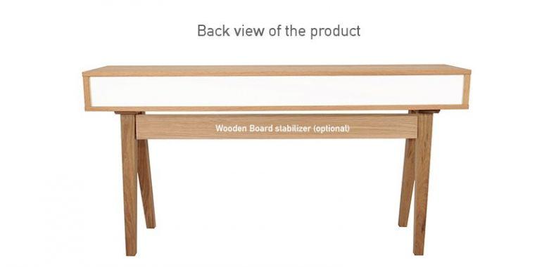 Table Console en Bois Design Retro - Chêne - 2 Tiroirs Bleu Pastel - 140 cm