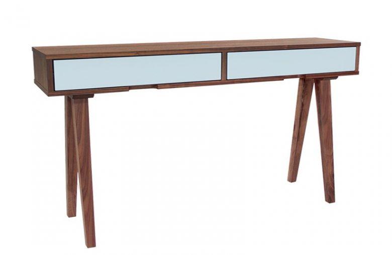 Table Console en Bois Design Retro - Noyer - 2 Tiroirs Bleu Pastel - 140 cm
