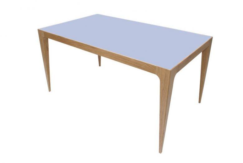 Table De Repas Design Ligne en Bois de Chêne Massif - Plateau Gris Bleu