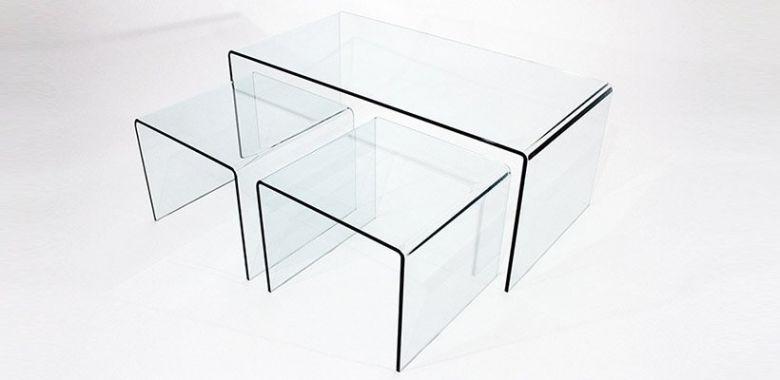 Tables Basses Encastrables Tertio En Verre Design 12MM - Lot de 3 Tables